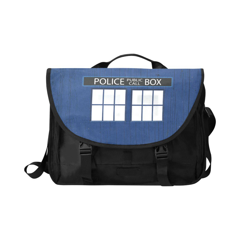 """Police Box Tardis Messenger Laptop Bag up to 15"""" Fits the Essentials too"""
