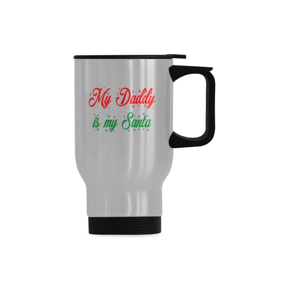 My Daddy is My Santa Travel Mug - Christmas Father Daddy Dad Gift (Silver, 14 OZ)