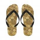 Size M Gold Coins Money Adult Unisex Flip Flop Slippers