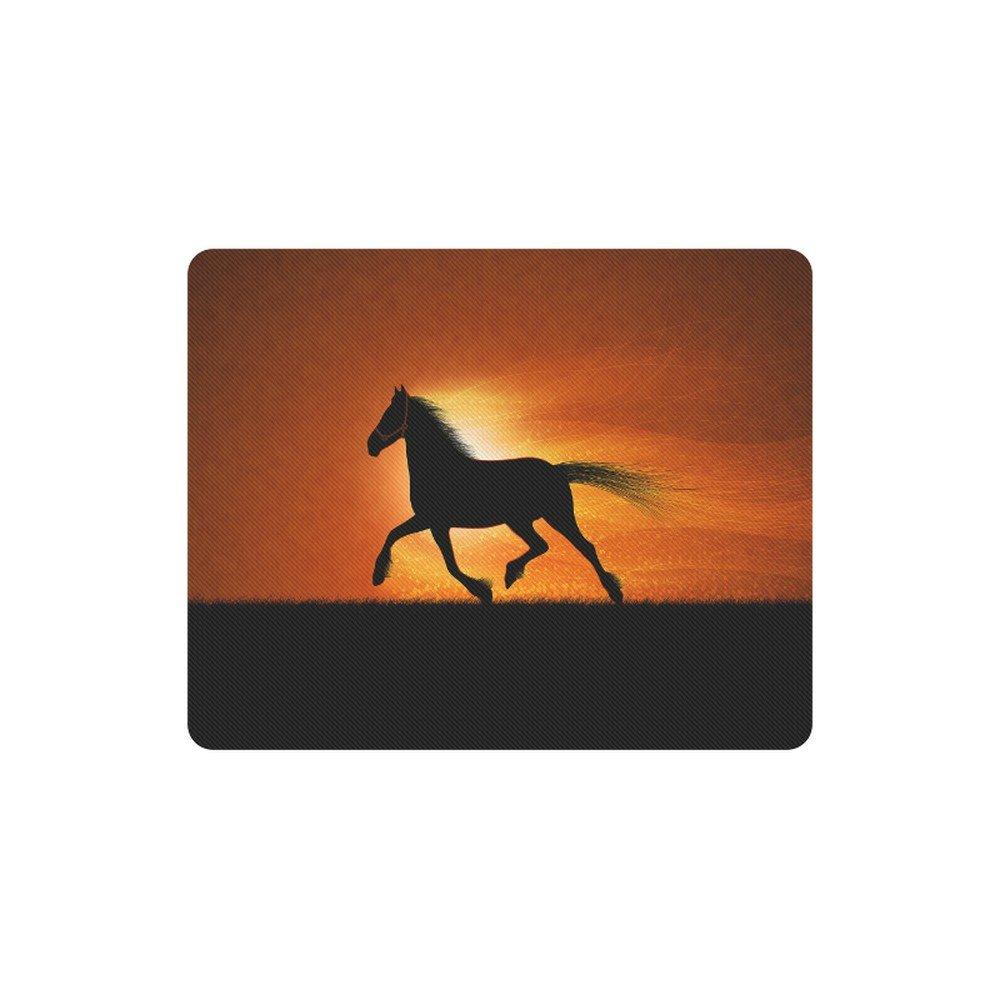 Horse Sunset Silhouette Rectangle Mousepad Non Slip Neoprene