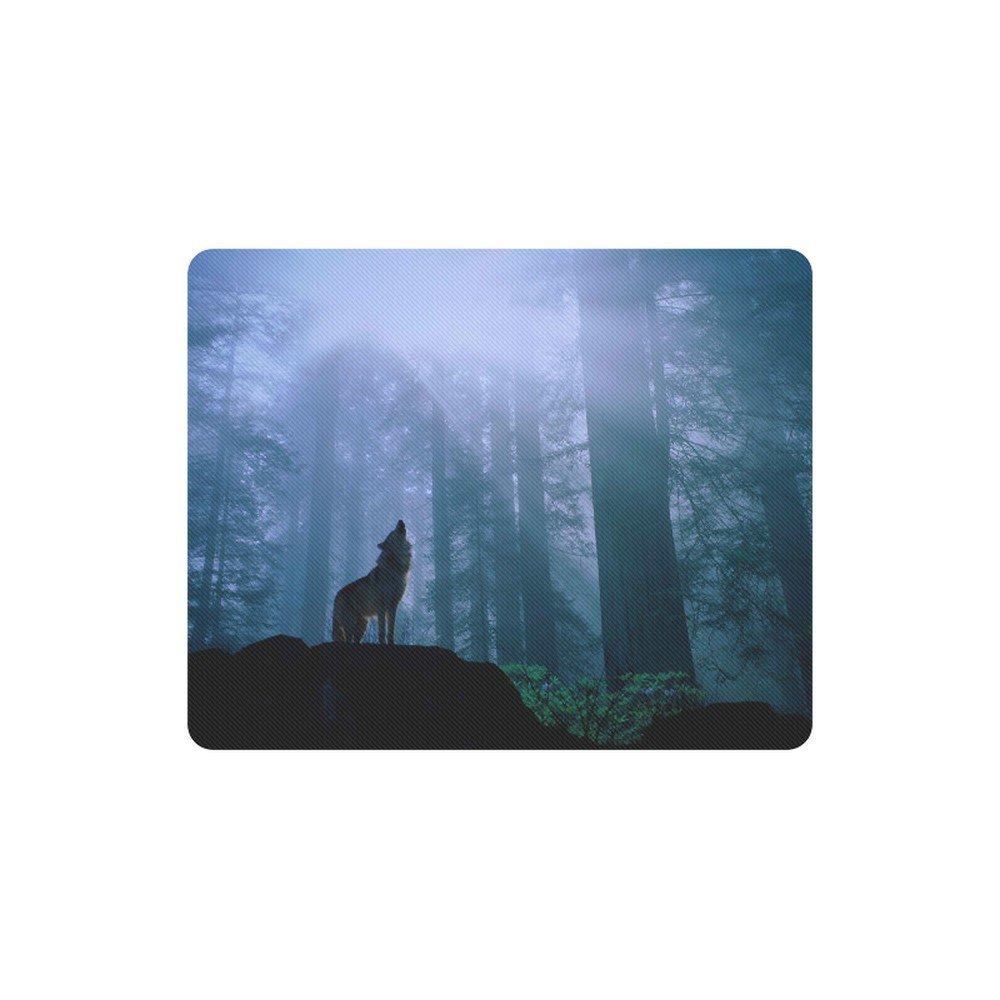 Wolf Blue Forest Rectangle Mousepad Non Slip Neoprene