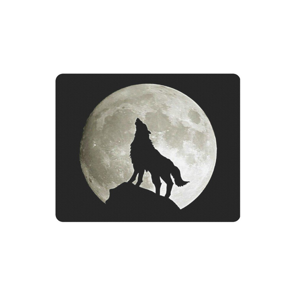 Wolf Silhouette with Moon Rectangle Mousepad Non Slip Neoprene