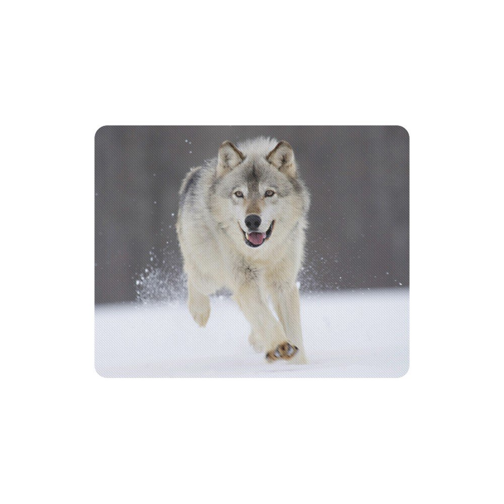 Wolf Running at Snow Rectangle Mousepad Non Slip Neoprene