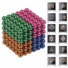 216pcs 5mm DIY Buckyballs Neocube Magic Beads Magnetic Toy Dark Blue & Orange & Green & Rose Red