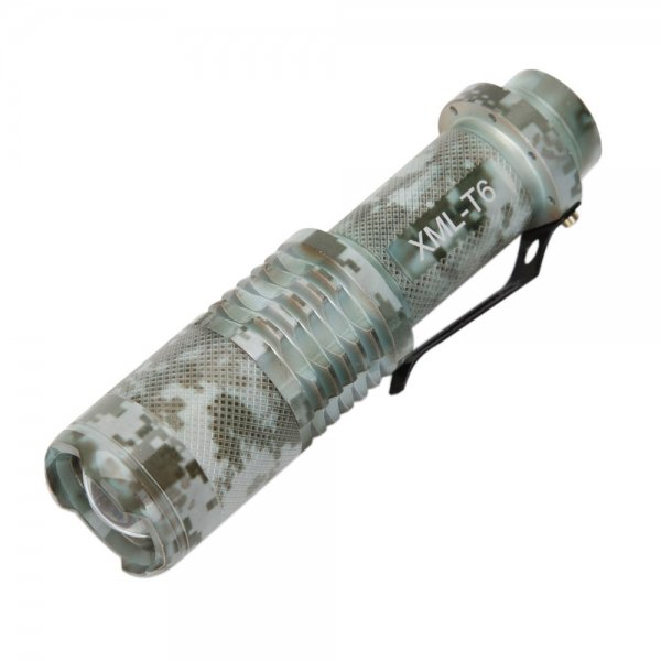 CREE XML-T6 1200LM White Light IPX5 5-Mode Retractable Flashlight with Clip Light Camouflage