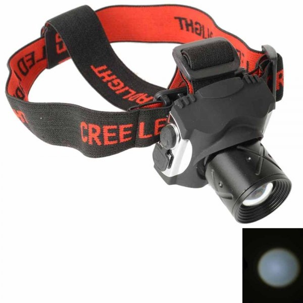 BD6108 5901 3W Rechargeable White Light LED Headlamp for Camping Black Head Black & Red