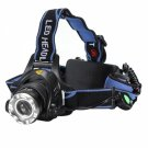 XM-L T6 1800LM 3-Mode Zoomable LED Headlamp with UK AC Adapter + Car Charger Blue