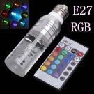 3W LED RGB Crystal Spotlight E27 Bulb Lamp with Remote Controller (85-265V)