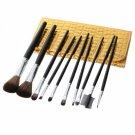10pcs Professional Cosmetic Makeup Brush Set With Golden Cosmetic Bag Black