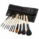 12pcs High-Quality Head Wood Handle Cosmetic Brush Set Black