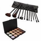15 Color Camouflage Concealer Palette with 12pcs Makeup Brush Set