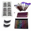 88 Color Matte Shimmer Eyeshadow Palette + 10 Pair Long Thick False Eyelashes + Makeup Brush Set