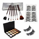 15-color Concealer Makeup Palette + Fasle Eyelashes (10 Pairs) 017# + Makeup Brushes Set