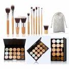 15 Color Concealer Palette & 11pcs Bamboo Handle Brush Pince Maquiagem Kit