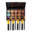 15-Color Concealer Palette & 8pcs Wooden Handle Makeup Brush Kit