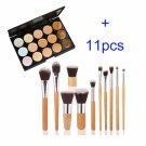 15 Colors Contour Face Cream Makeup Concealer Palette + 11PC Bamboo Powder Brush