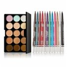 15-color Concealer + MY701-000 12pcs Colorful Professional Eyeshadow Pens Set