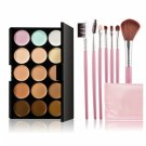 15-color Concealer + 7pcs Professional Multifunctional Cosmetic Makeup Brushes Set Pink