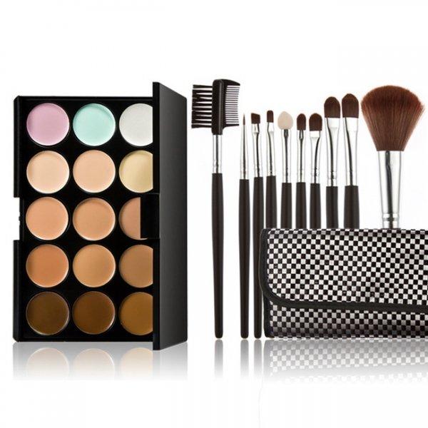 15-color Concealer + 10pcs Professional Multifunctional Cosmetic Makeup Brushes Black Plaid Pattern