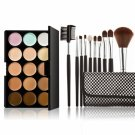 15-color Concealer + 10pcs Professional Multifunctional Cosmetic Makeup Brushes Black Plaid Pattern