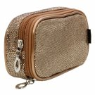 Newest Fashion Double-deck Shining Cosmetic Bag Handbag Dark Golden