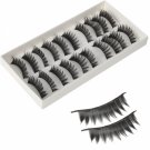 10 Pairs Pro Makeup Thick Long False Fake Eyelashes Black H-3