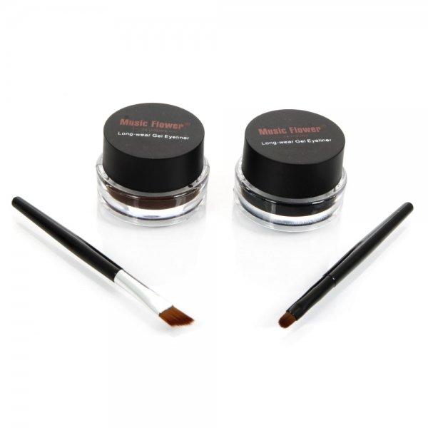 2Pcs Eyeliner Gel Cream Eyes Cosmetic Makeup Tools Waterproof Black & Brown + Brush
