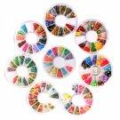 8 Wheel 3D Fimo Slice Nail Art Decoration Set