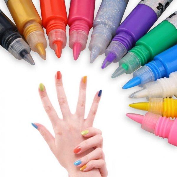 12 Colors 3D Finger Pen Nail Art Polish Set