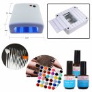 New Nail Art Tools Sets Kits w/36W White Cure Lamp Dryer 36Color UV gel Brush