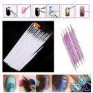 15Pcs New Nail Art Painting Pen Brush + 5pcs 2-way Nail Art Dotting Pen
