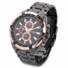 Business Men 8023 Waterproof Stainless Steel Quartz Wrist Watch Black Golden