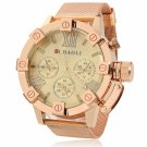Water-resistant Circular Dial White Font Steel Wrist Watch Golden Dial Rose Golden Band