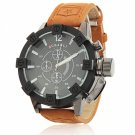 Waterproof Round Dial Alloy Watchcase Leather Band White Font Unisex Watch Black Dial Brown Band