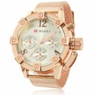 Unique Unisex Style Circular Dial Alloy Band Waterproof Watch Pale Yellow Dial Rose Golden Band