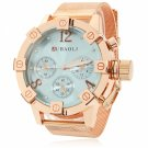 Unique Unisex Style Circular Dial Alloy Band Waterproof Wrist Watch Blue Dial Rose Golden Band