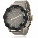 Waterproof Circular Dial Alloy Unisex Wrist Watch with Orange Font Black Dial Gray Band
