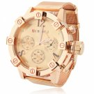 Unique Unisex Style Circular Dial Alloy Band Waterproof Wrist Watch Golden Dial Rose Golden Band