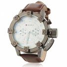 JUBAOLI 1036 Brown PU Leather Band Analog Unisex Wrist Watch White Dial Black Case