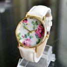 Rose Pattern Round Dial Alloy Watchcase Lady Wrist Watch with Artificial Leather Watch Band White