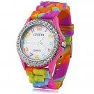 Sweet Rhinestone Round Dial Daily Water Resistant Quartz Women Wrist Watch Colorful