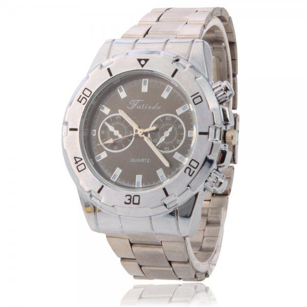 D1021 Elegant Fake Three-circle Quartz Movement Alloy Men Wrist Watch Silver