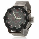 Waterproof Circular Dial Alloy Unisex Wrist Watch with Red Font Black Dial Gray Band