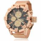 Stylish Waterproof Rose Golden Watchcase Steel Band Unisex Wrist Watch Black Dial Rose Golden Band