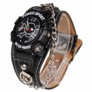 Fashionable Skeleton Head Pattern Dial Numeric Wrist Watch with Compass