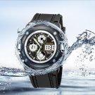 Hot Selling Multifunction Waterproof PU Band Plastic Case Sport Diving Wrist Watch Black