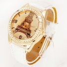 Fashion Women Ladies Small Paris Tower Diamond Encrusted Quartz Wrist Watch White