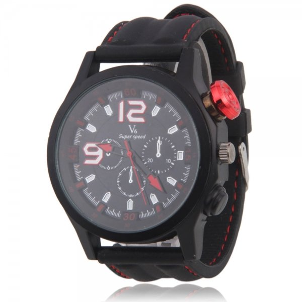 Men V6 Alloy Stainless Steel Silicone Band Quartz Multi-Movement Wrist Watch Red Black