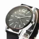 Graceful Imitation Leather Watchband Striped Single Number Wrist Watch Black L