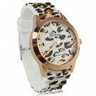 Luxury Leopard Print Round Dial Daily Water Resistant Quartz Women Watch with Silicone band White